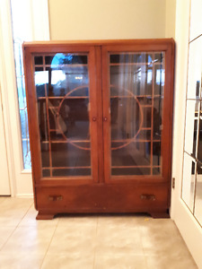 Antique solid wood display cabinet with drawer