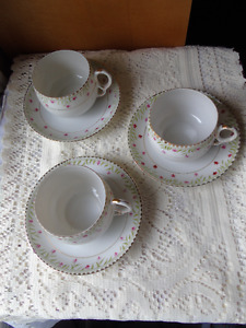 Nippon Set 3 Tea Cups/Saucers