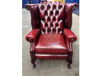 Immaculate genuine oxblood leather Queen Anne wingback chesterfield vintage armchair antique