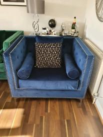 Navy velvet sofa chair