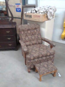 Recovered antique chair and footstool