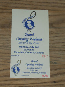 Unused ticket for grand opening of Shania Twain Centre
