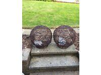 2 x light up rattan spheres for garden
