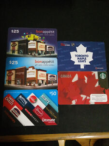 Discounted Gift Cards for Restaurants, Tims & Starbucks
