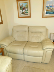 Cream leather 2 seater reclining sofa