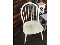 Vintage Ercol style chair in distressed Antique white