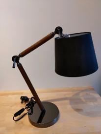Retro Hybrid Task Table Lamp Solid Oak