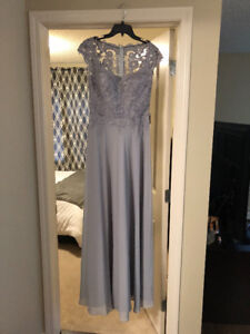 Evening Gown / Dress - Grey - Size 8 - BRAND NEW
