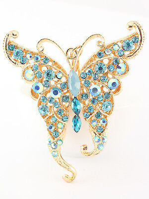 Blue Butterfly Fashion Keychain Accessories Crystal Charm Bird Cute Gift 01291 - Blue Accessories