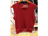 Tommy Hilfiger Red Cable Knit Sweater Vest Belted