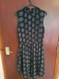 Black Print Dress H&M Size 8
