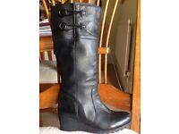 "Ladies ""Lotus"" black wedge leather boots size 5"