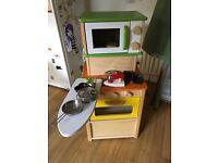 Child's wooden play kitchen