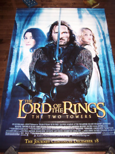 "LORD OF THE RINGS TWO TOWERS movie poster banner 48"" by 72"""