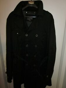 ENERGIE MEN CLASSIC BLACK TRENCH COAT SIZE XL SLIM FITTED