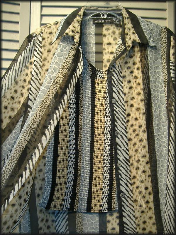 """IMPRESSIONS 2 Pc. Animal Print Sheer Blouse & Stretchy Tank Top (M) 42"""" bust"""