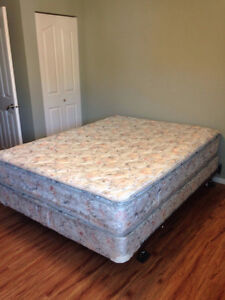Queen Size Mattress with box spring and metal frame