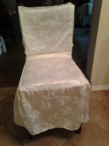 CHAIR , HIGH STYLE , ONE ONLY , HAS NICE IVORY COVER .