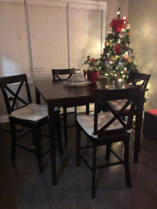 Pub Style Dining Table & 4 chairs-Espresso Colour $100 or neg.