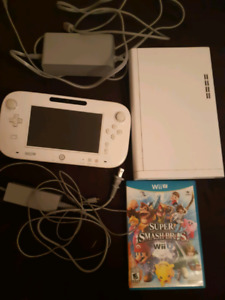 Wii u with game pad and smash bros