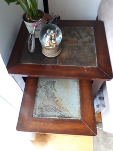 Solid Wood & Stone Side Nesting Table
