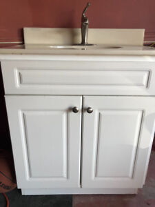 White Vanity with Marble Counter top Faucet included