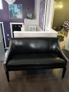 LEATHER BENCH WITH SILVER GROMETS
