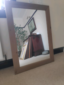 Large Mirror with Oak Frame