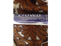 CROWN WALLPAPER WALLCOVERINGS BRAND NEW SEALED 6 ROLLS