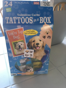 """24pc Valentine Cards """"Tattoos in a Box"""" (Dogs/Cats)"""