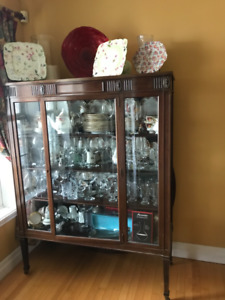 "Large China Cabinet, 54"" Table with 4 leaves, Side Board Table"