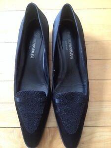 Black Low Heel Evening Shoes