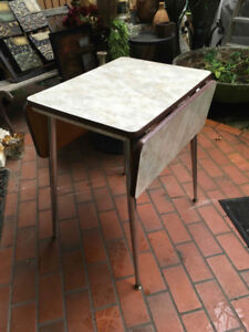 Vintage Modern Formica Drop Leaf Table with Stainless Legs