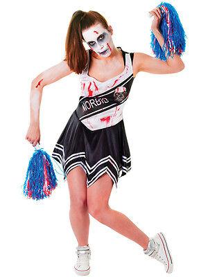 Adult Black White Zombie Cheerleader Ladies Halloween Horror Fancy Dress Costume