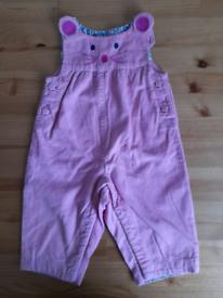3-6m JoJo Maman Bebe pink cord dungarees