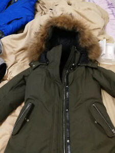 Women Mackage Kerry down coat parka with real fur in army green
