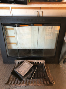 Fireplace front double bi-fold glass door