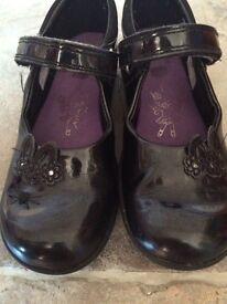 Clark's black patent school shoes, size 12E