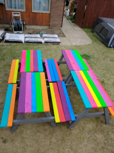Kids painted picnic tables . New.