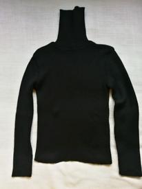 Speedway Jumper 30% Merinos Wool Black High Neck Size S Made in France