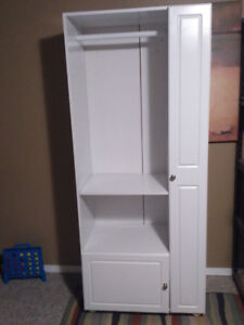 Tall White Storage Unit- hanging, shelf, cupboard, vertical stop