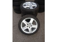 """4x 17"""" VW original alloys, 225-45-17 tyres like new and branded"""