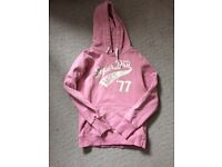 Pink Superdry hoody, size M