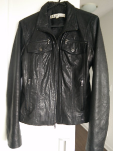 Kenneth Cole Classic Leather Jacket in Black