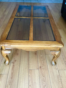 4 Solid Wood tables with glass