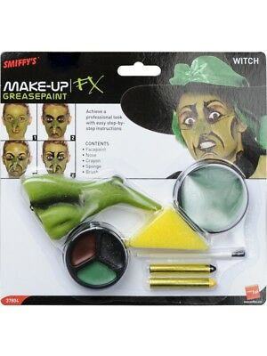 nt Facepaint Set Green Witch Halloween Horror Inc Nose (Green Witch Make-up)