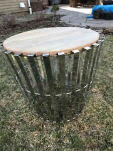 """New"" Wood and Chrome Circular Modern Coffee Table"