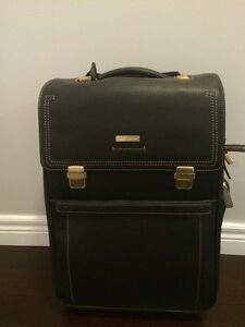 Brooks Brother Dark Brown Pebble Grain Leather Carry On Trolley