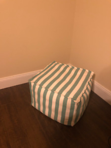 Teal Striped Poof / Ottoman / Home Decor