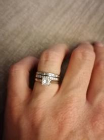 Set of diamond rings - engagement, wedding band and eternity